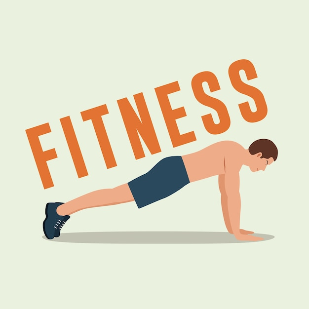 Fitness man doing push-ups Premium Vector