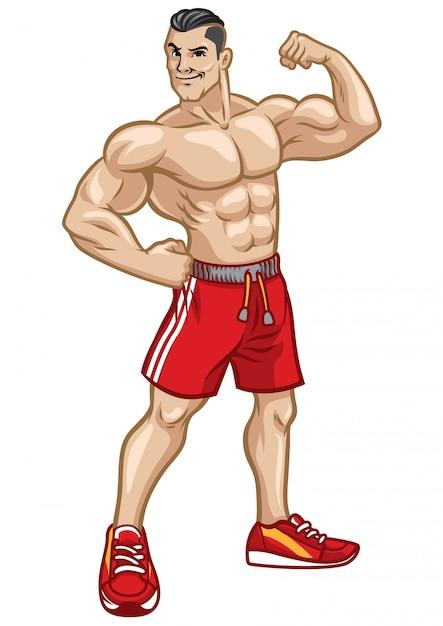 Фитнес мужчины позируют, показывая его атлетическое тело Premium векторы