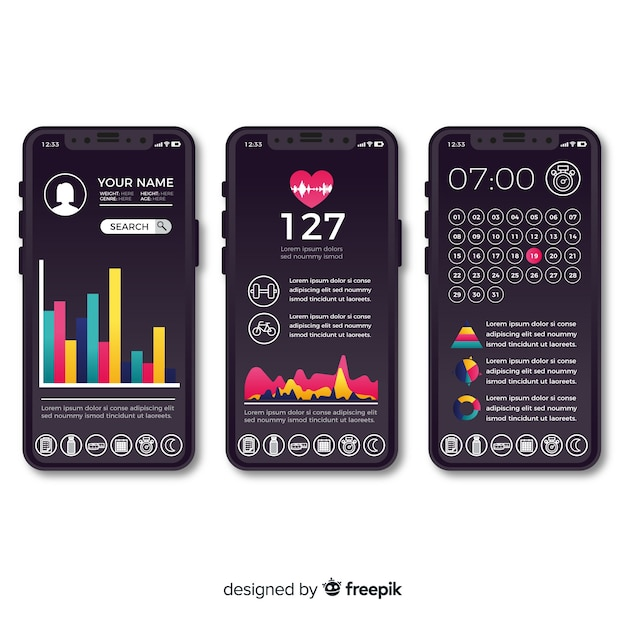 Fitness mobile app infographic flat design Free Vector