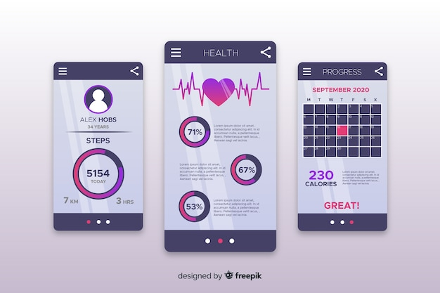Fitness mobile app infographic template flat style Free Vector