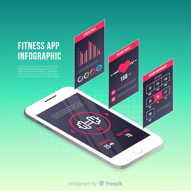 Fitness mobile app infographic template isometric style Free Vector