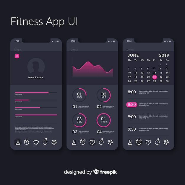 Fitness mobile app infographic template Free Vector