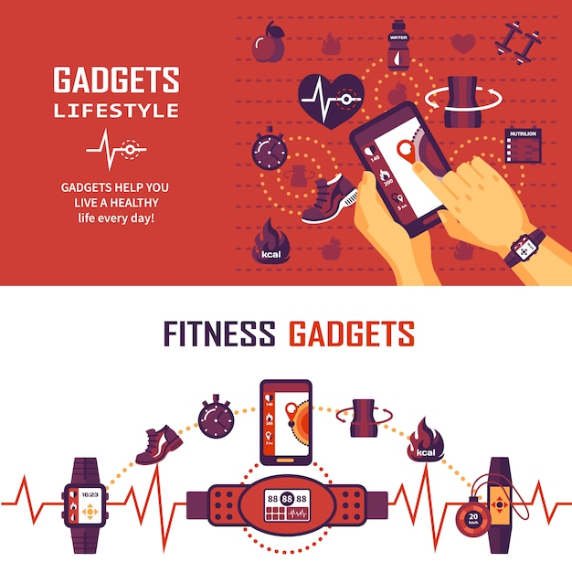 Fitness monitoring banners Free Vector