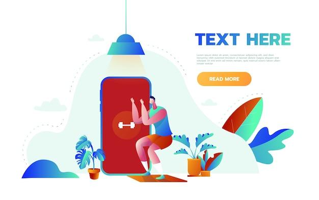 Концепция баннера онлайн-курса фитнеса. человек занимается фитнесом дома в онлайн-классах, используя свое приложение для смартфона Premium векторы