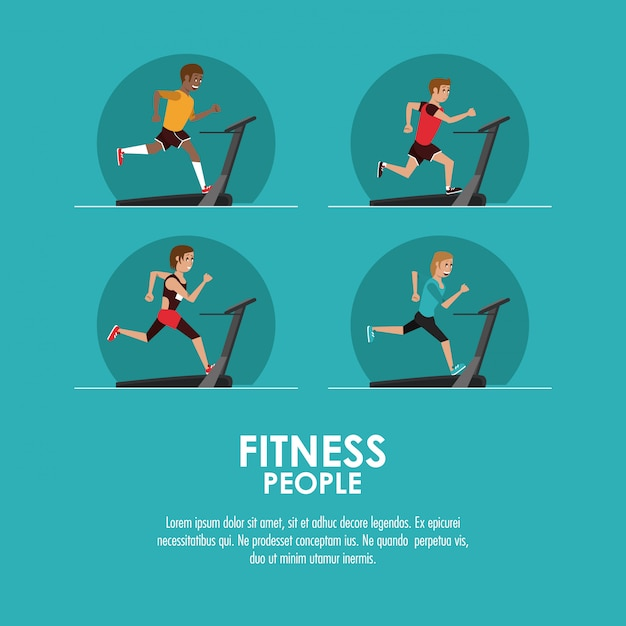 Fitness people poster Premium Vector