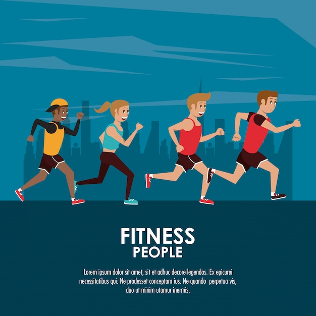 Fitness people poster Premium Vector