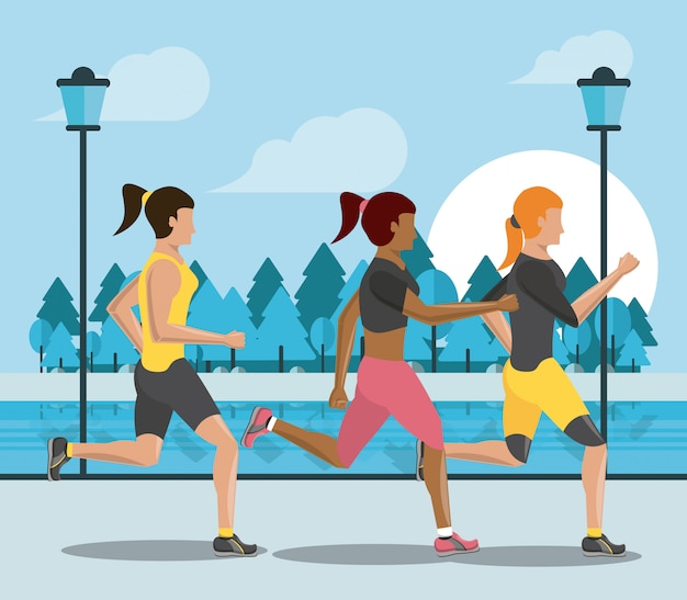 Fitness people running silhouette Premium Vector