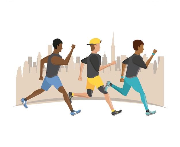 Fitness people running Premium Vector