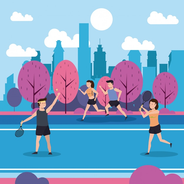 Fitness people training at park Free Vector