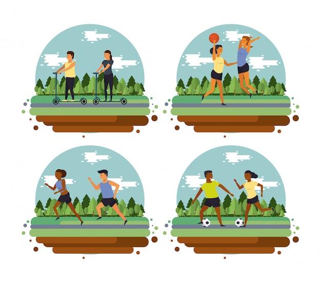 Fitness people training sports cartoon Free Vector
