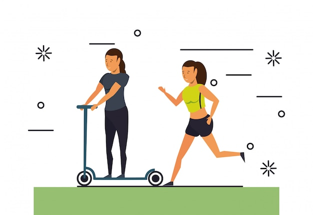 Fitness people traning cartoon scenery Free Vector