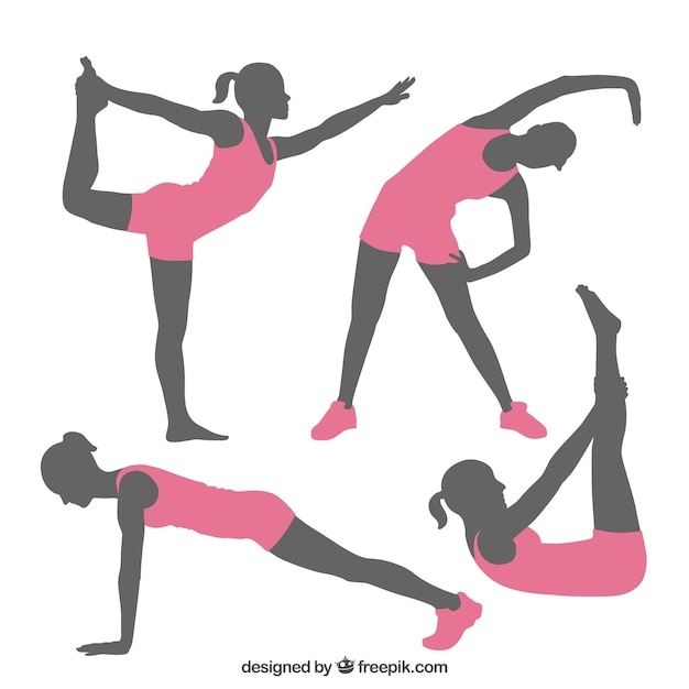 Fitness poses silhouettes vector free download for Que significa gym