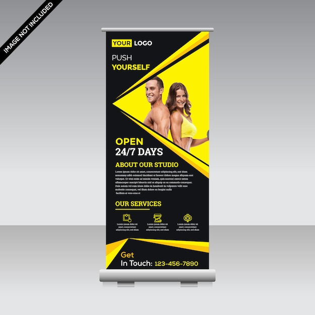 Fitness roll up banner Premium Vector