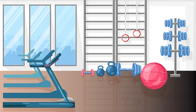 Fitness room with treadmill and sport equipment Premium Vector