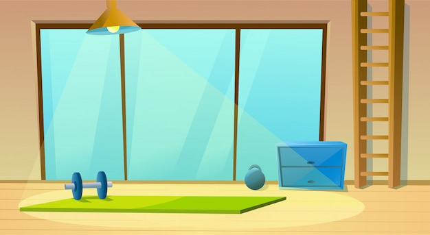Fitness room for yoga window and dumbbells Premium Vector