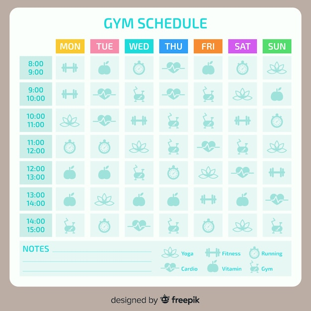 Fitness schedule template Free Vector
