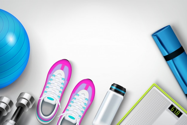Fitness shoes sneakers water bottle mat scale dumbbells exercise ball realistic  top view composition Free Vector