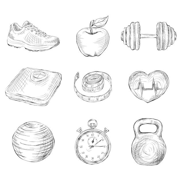 Fitness sketch elements Premium Vector