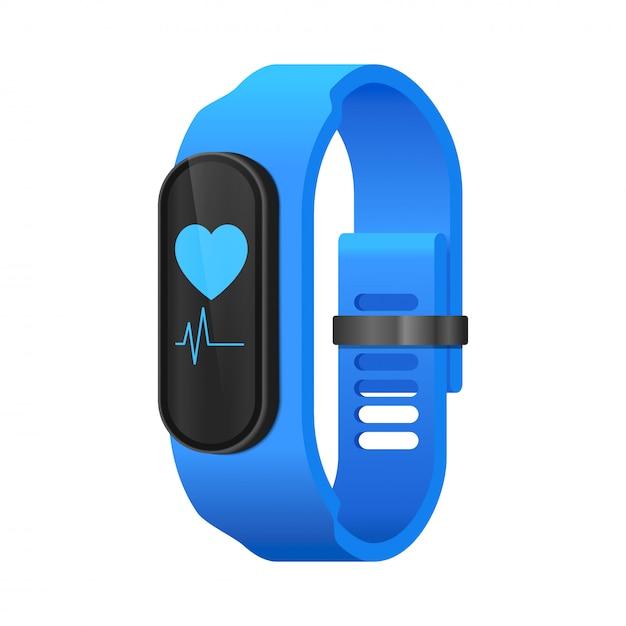 Fitness smart watch concept realistic isometric Premium Vector