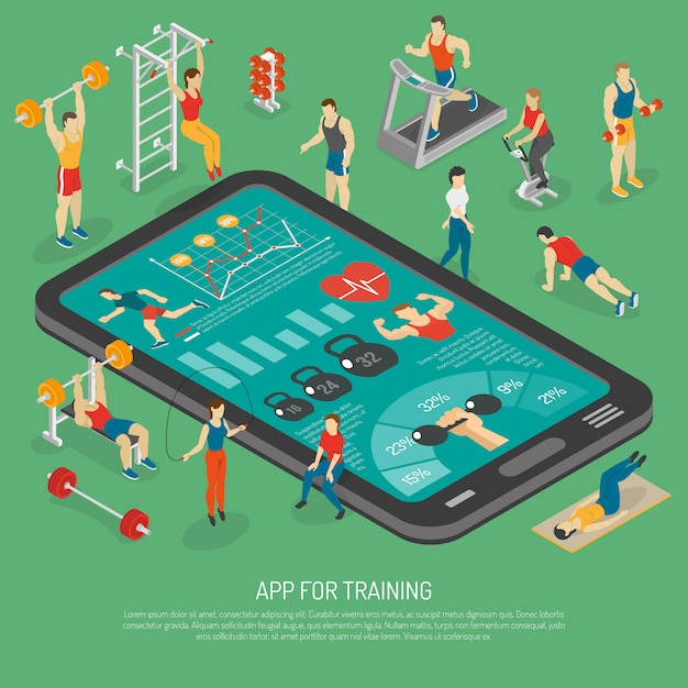 Fitness smartphone accessories apps isometric poster Free Vector