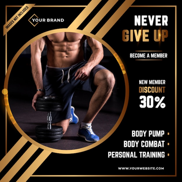 Fitness social media post template Premium Vector