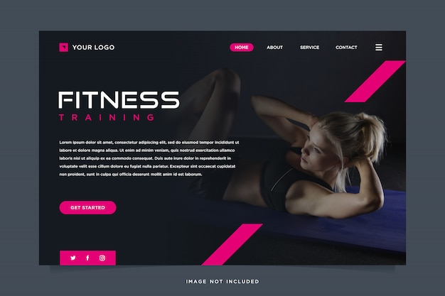 Fitness solution landing page template Premium Vector