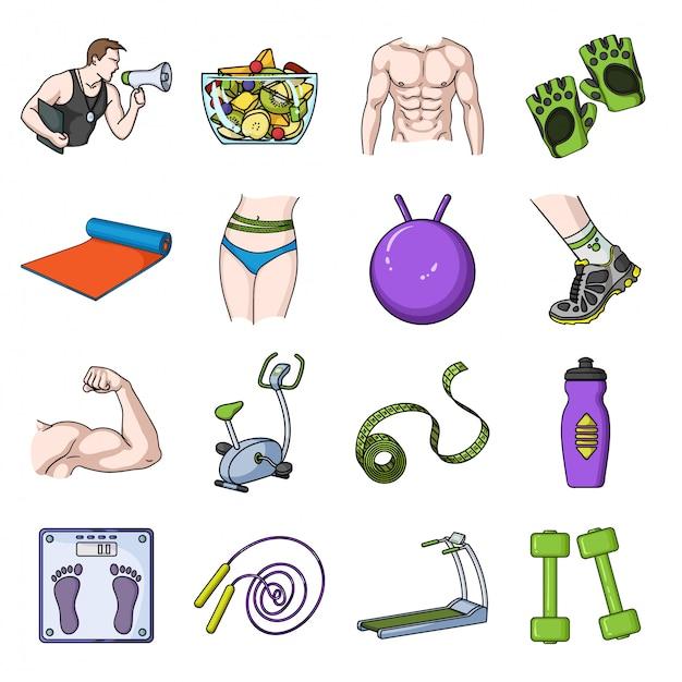 Fitness of sport  cartoon set icon. isolated cartoon set icon sport exercise.  illustration equipment fitness  . Premium Vector