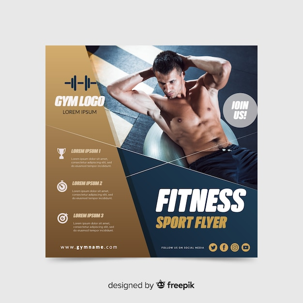 Fitness sport flyer with photo Free Vector