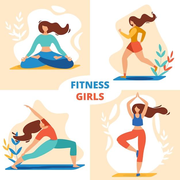 Fitness sport girls set, медитации для спортсменок Premium векторы