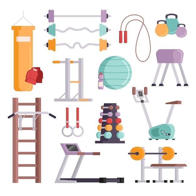 휘트니스 스포츠 체육관 운동 장비 운동 평면 설정된 개념 그림. 프리미엄 벡터