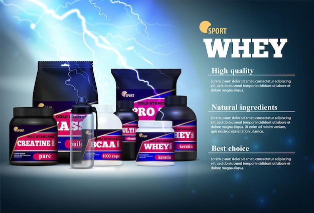 Fitness sport muscle mass gain natural ingredients protein products realistic advertising composition description stormy Free Vector