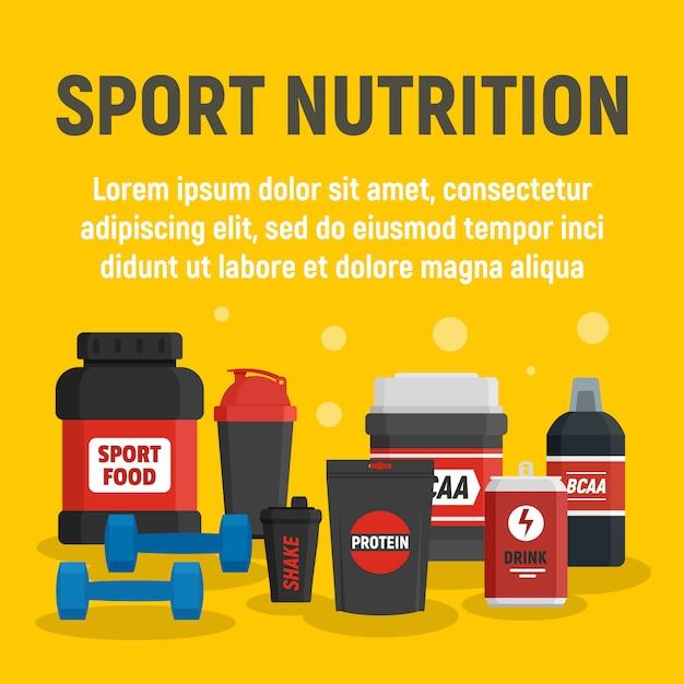 フィットネススポーツ栄養テンプレート、フラットスタイル Premiumベクター