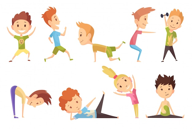 Fitness Sport Set Of Boys And Girl Making Gymnastic Exercises Funny Cartoon Colorful Characters Cute Gymnastics For Children And Healthy Lifestyle Sport Illustration Happy Kids Fitness Premium Vector