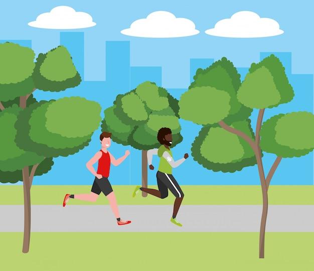 Fitness sport train cartoon Premium Vector