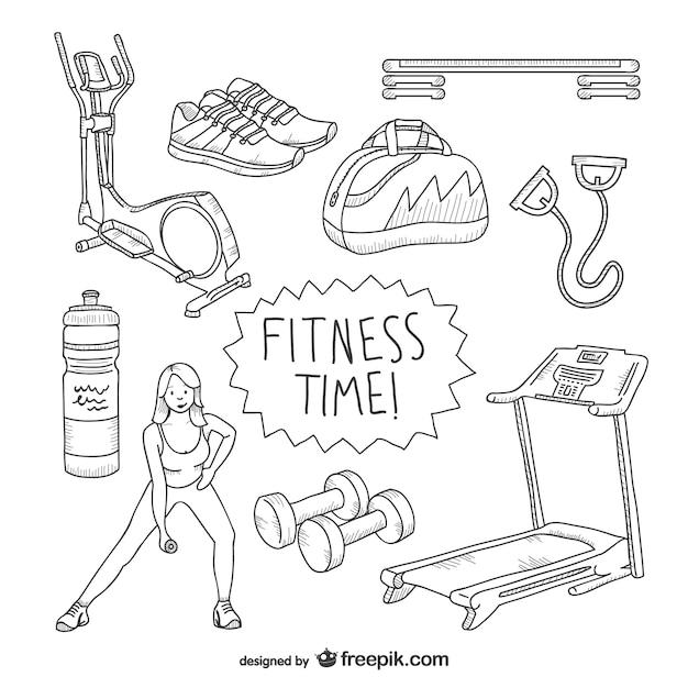 fitness time drawings pack vector