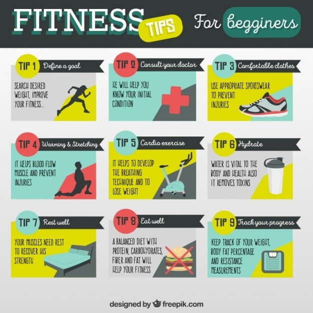 Fitness tips for begginers Vector