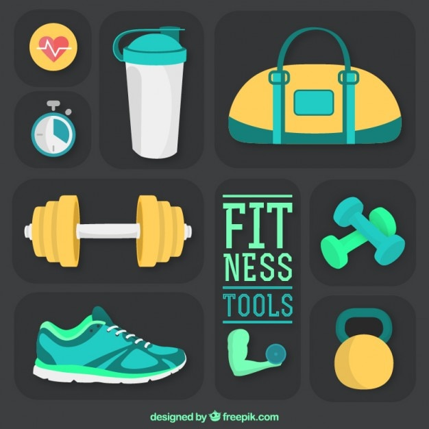 Fitness tools pack in a flat style Free Vector