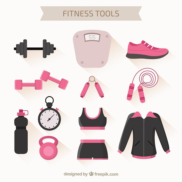 Fitness tools pack Free Vector