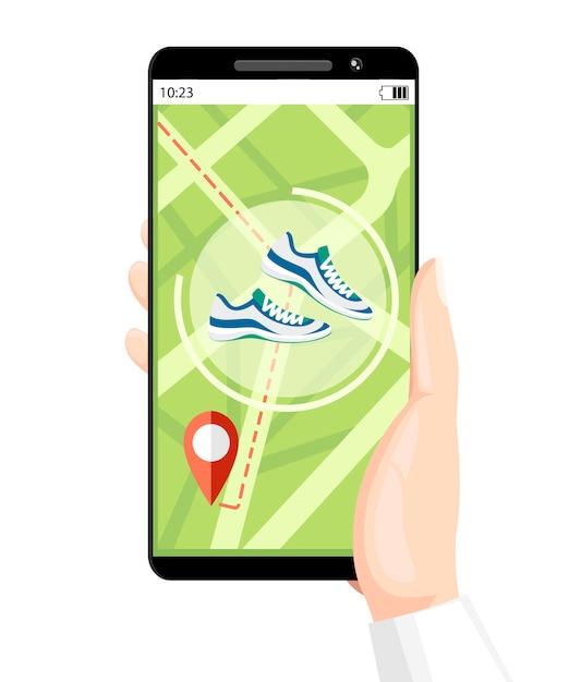Концепция фитнес-трекера. мобильное приложение для смартфона показывает путь. браслет со счетчиком шагов. иллюстрация на фоновой текстуры. место для вашего текста. страница веб-сайта Premium векторы
