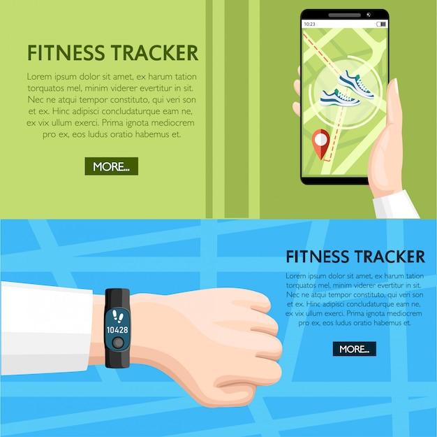 Концепция фитнес-трекера. спортивный браслет на руку. мобильное приложение для смартфона показывает путь. браслет со счетчиком шагов. иллюстрация на фоновой текстуры. место для вашего текста. страница веб-сайта Premium векторы