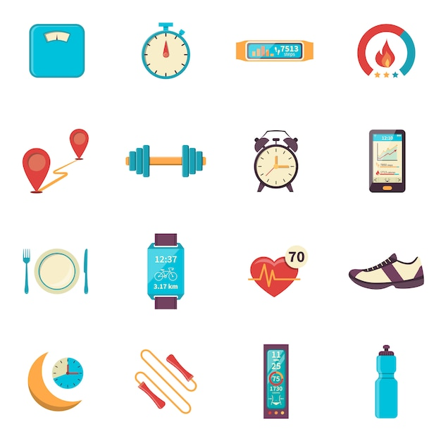 Fitness tracker flat color icons Free Vector