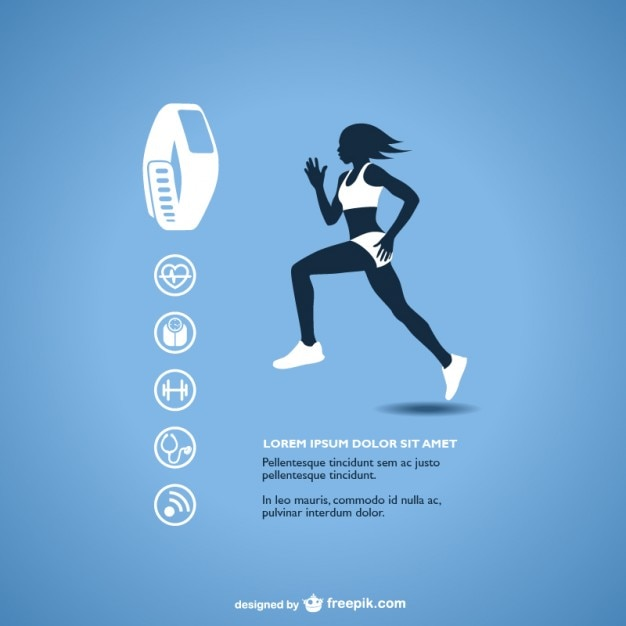 Fitness tracker with runner silhouette Free Vector