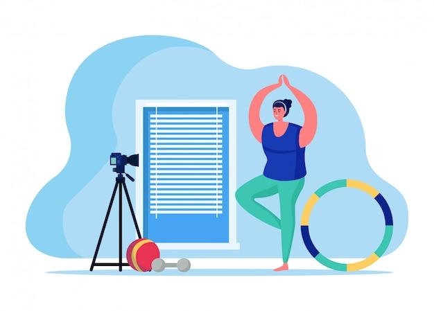 피트니스 트레이너 블로그 온라인 스트리밍, 흰색, 평면 그림에 고립 된 여성 캐릭터 스포츠 인터넷 방송 호스트. 프리미엄 벡터