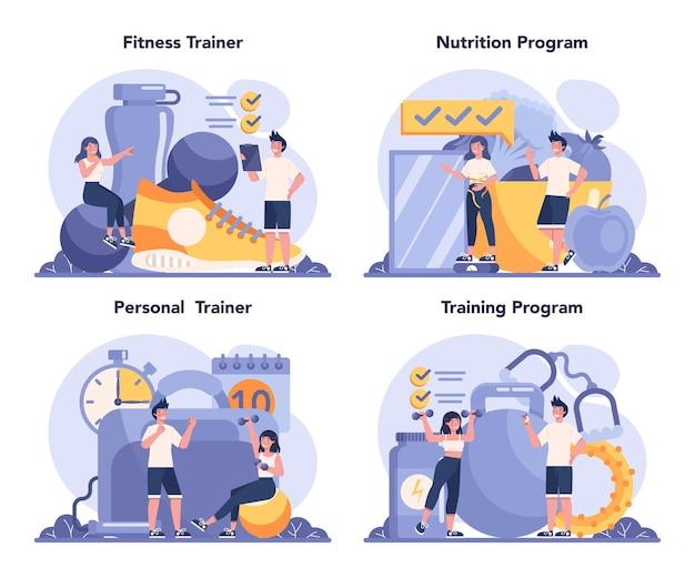 피트니스 트레이너 개념을 설정합니다. 전문 스포츠맨과 체육관에서 운동. 건강하고 활동적인 생활 방식. 프리미엄 벡터