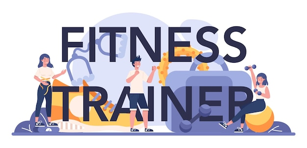 피트니스 트레이너 인쇄용 헤더. 전문 스포츠맨과 체육관에서 운동. 프리미엄 벡터