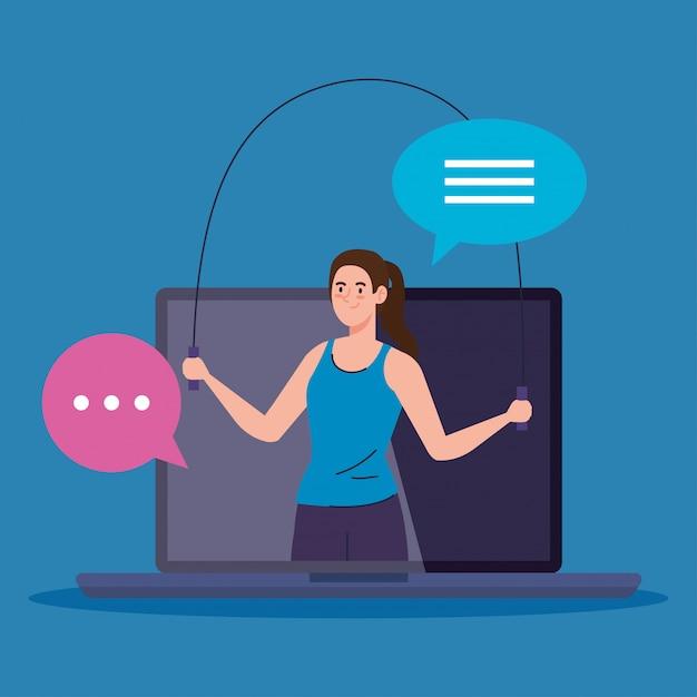 피트니스, 훈련 및 운동 앱, 노트북에서 여성 연습 스포츠, 온라인 스포츠 프리미엄 벡터