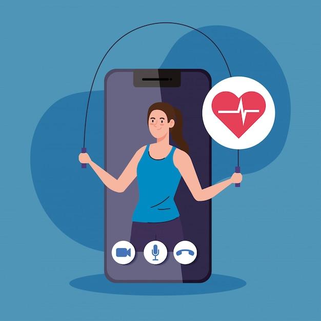 피트니스, 교육 및 운동 앱, 스마트 폰에서 여성 연습 스포츠, 온라인 스포츠 프리미엄 벡터