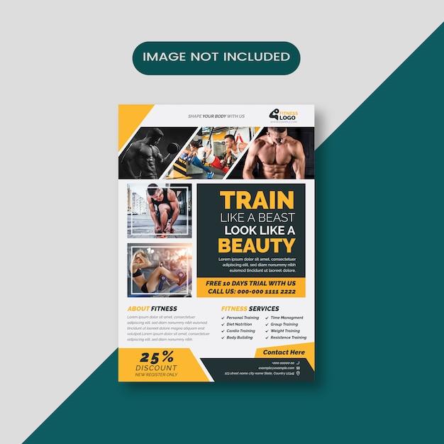 フィットネストレーニングチラシテンプレート Premiumベクター