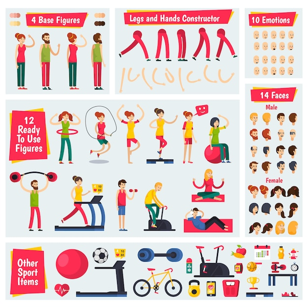 Fitness training people character constructor Vector | Free
