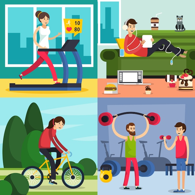 Fitness training people icon set Free Vector